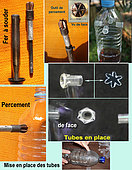 Pictures of the artisanal manufacture of the traps which however requires a few tools, including an 80w soldering iron, a bottle piercing tool that makes holes with claws that hold the tubes of centrifuges with a diameter of 10.5 mm. All this for a cost of 0.4 cents per bottle-trap, plus an attractant to put in the bottles. Fearsome efficiency for the catches.