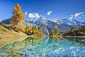 Lac Bleu, Dent de Perroc, Aiguille de la Tsa, Valais, Switzerland, Europe