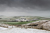 Snowy village of Escalles, seen from the Mont d'Hubert, Opal Coast, Hauts de France, France