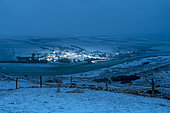 Village d'Escalles snowy at nightfall, seen from Mont d'Hubert, Opal Coast, Hauts de France, France
