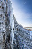 Cap Blanc-nez under the ice in winter, Opal Coast, France
