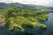 Aerial view of the island St. Vincent, St. Vincent and the Grenadines