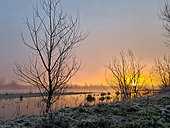 Sunrise on the Loire River in winter, France