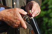 France. Hunting. Hunter loading his gun with anmunitions with zinc and tin. The European commission has adopted in january 2021 a ban on using lead 100m around any wetland in Europe. So far in France, the ban is only 30m. In the future, the lead will be totally banned as 6000 tons of lead is put into nature by hunters every year. There is already new anmunitions with zinc, steel, tungsten and bismuth.