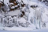 Ice formations, Tornetrask Lake, Abisko National Park, Sweden.