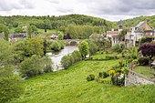 View of La Celle-Dunoise and La Creuse river, La Celle-Dunoise, Region Limousin, France, Europe