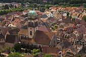 Town view with Church Sainte-Croix, Kaysersberg, Alsace, France, Europe