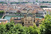 View over the Lyon Cathedral and the city from Fourvière Hill, Lyon, Rhone, France, Europe