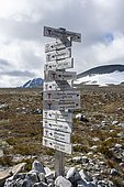 Many signposts for hikes in Dovrefjell National Park, Oppdal, Norway, Europe