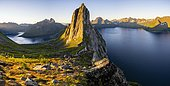Morning atmosphere, steep mountain Segla, fjord Mefjorden with mountains, island Senja, Troms, Norway, Europe