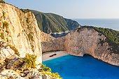 Beach with shipwreck,drone shot, Navagio Beach, Zakynthos, Greece, Europe