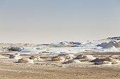 View over the white desert, Western Libyan desert, Egypt, Africa