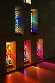 Stained glass windows, Basilica of Annunciation, Nazareth, Galilee, Israel, Middle East, Asia