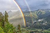 Double rainbow, view of the Virgental valley, Hohe Tauern National Park, East Tyrol, Austria