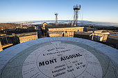 Orientation table on the weather observatory of Mont Aigoual, in the Cevennes National Park, Gard, Occitanie, France.