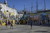 Young footballers on a football field, La Boca district, Buenos Aires, Argentina, South America