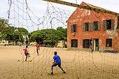 Children playing football, Isle de Gorée, Dakar, Senegal, Africa