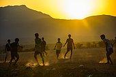 Boys playing soccer, Socotra, Yemen, Asia