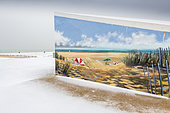 Calais beach under the snow, Opal Coast, Hauts-de-France, France