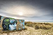 Graffiti on a WWII bunker, Blériot-plage, Opal Coast, Hauts-de-France, France