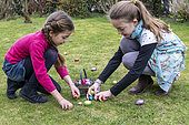 Egg hunt in a garden at Easter, Pas de Calais, France