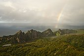 Rainbow over the Lindéralique Rocks off the coast, Hienghène, North Province, Grande Terre, New Caledonia, Oceania