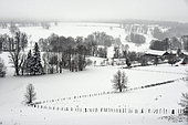 Country landscape in the snow, France