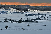 Winter landscape under the snow, Damprichard, Haut-Doubs, Doubs, France