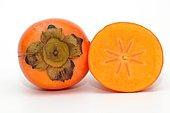 Persimmon, Sharon Fruit or Kaki, halved