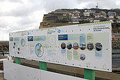 Information panel on the connection of the Fécamp offshore wind farm, Seine-Maritime, Normandy, France