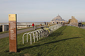 Bicycle park on the tourist trail along the Couesnon river to Mont Saint-Michel, Manche, France