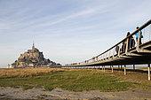 New footbridge to Mont Saint-Michel, Manche, Normandy, France