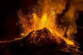 Eruption in Geldingadalur, Fagradalsfjall, Reykjanes Peninsula, Iceland