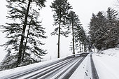 Snow covered road, Route of the Ridges, la Schlucht, Vosges, France