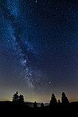 Milky Way over a Vosges peak, Grand Est, France.