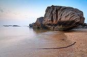 Coastal landscape at low tide, pink granite coast, Brittany, France.