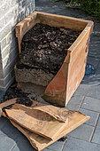Terracotta pot broken by frost in winter, Pas-de-Calais, Hauts-de-France, France