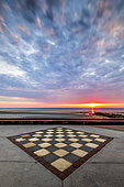 Checkerboard on the dyke of Wimereux, Opal Coast, Pas-de-Calais, France