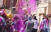 People throwing colored powder, Holi Festival, Varanasi, Uttar Pradesh, India, Asia