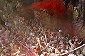 Visitors at Bihari Temple during Holi festival, Vrindaban, Uttar Pradesh, India, Asia