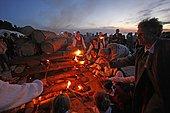 Bonfire on a beach at the midsummer festival in Jurmala, Latvia, Baltic region, Europe
