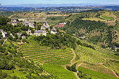 agricultural region around the village of Clairvaux d'Aveyron, from a hill, Aveyron (department 12), Occitanie Region, France
