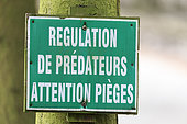 Sign to warn of the possibility of shots fired in private property, private park, Haute-Saône, France