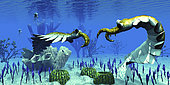 Two predatory Anomalocaris invertebrates have a dispute over territorial rights over an ocean reef in Cambrian seas.