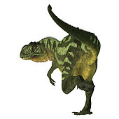 Yangchuanosaurus dinosaur, rear view on white background. Yangchuanosaurus was a carnivorous theropod dinosaur that lived in China during the Jurassic Period.