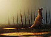 Tyrannosaurus rex sunbathing after the rain.