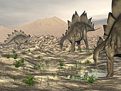Stegosaurus dinosaurs searching for water in a desert landscape.