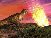 Tyrannosaurus Rex dinosaur observes a meteorite crashing into Earth.