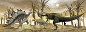 Two Allosaurus dinosaurs attack a lone Stegosaurus in the desert.