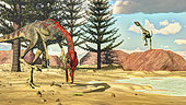 Compsognathus dinosaur attempts to eat a frog in the desert amongst calamite trees.